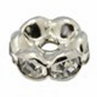 Rondel bras metaal zilver met heldere kristalletjes