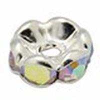 Rondel bras metaal zilver met heldere kristalletjes AB